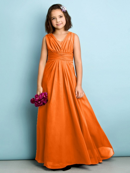 A-Line V Neck Floor Length Chiffon Junior Bridesmaid Dress With Criss Cross / Natural / Mini Me_15