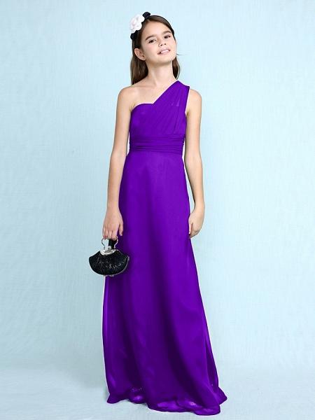 Sheath / Column One Shoulder Floor Length Chiffon Junior Bridesmaid Dress With Side Draping / Natural_40