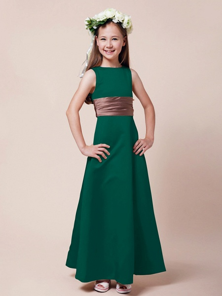 Princess / A-Line Bateau Neck Floor Length Satin Junior Bridesmaid Dress With Sash / Ribbon / Ruched / Spring / Summer / Fall / Winter / Apple_23