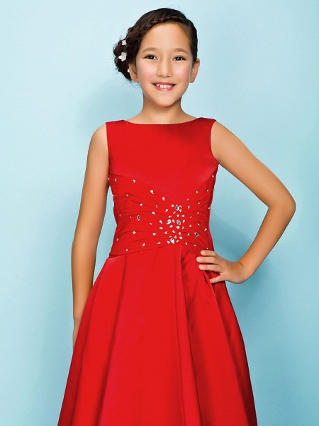 Princess / A-Line Bateau Neck Floor Length Satin Junior Bridesmaid Dress With Criss Cross / Beading / Draping / Spring / Summer / Fall / Apple / Hourglass_5