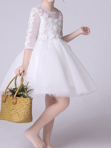 Princess Knee Length First Communion Flower Girl Dresses - Polyester Half Sleeve Jewel Neck With Appliques_4