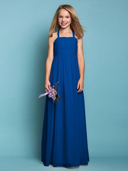 Sheath / Column Halter Neck Floor Length Chiffon Junior Bridesmaid Dress With Ruched / Spring / Summer / Fall / Apple / Hourglass_34