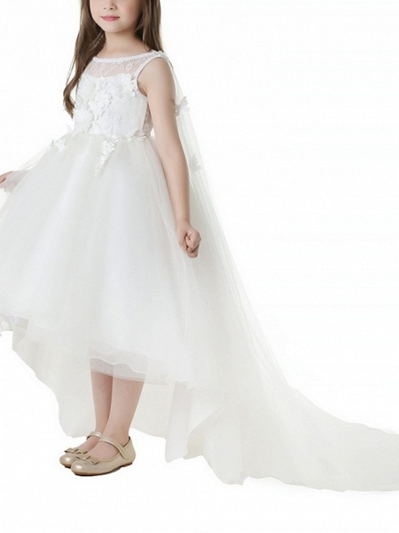 Ball Gown Asymmetrical First Communion Flower Girl Dresses - Polyester Sleeveless Jewel Neck With Appliques_3