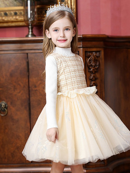Princess / Ball Gown Knee Length Wedding / Party Flower Girl Dresses - Tulle Sleeveless Jewel Neck With Ruffles / Splicing_5