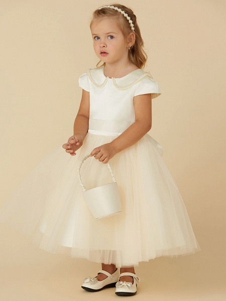 Ball Gown Tea Length Pageant Flower Girl Dresses - Satin / Tulle Short Sleeve Jewel Neck With Pearls / Beading_3