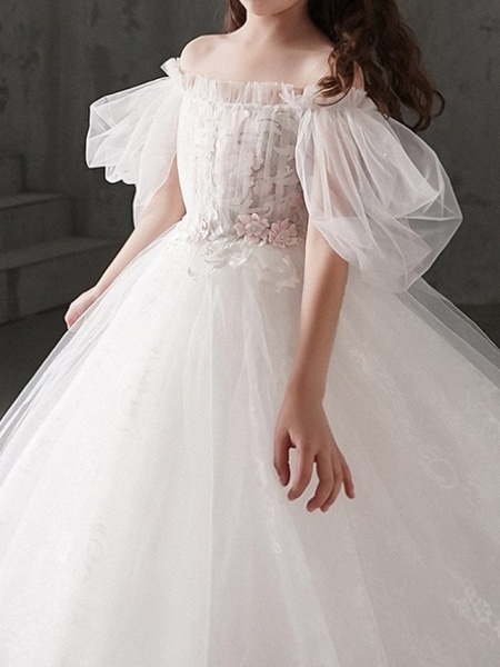 Ball Gown Ankle Length First Communion Flower Girl Dresses - Polyester Half Sleeve Off Shoulder With Appliques_3
