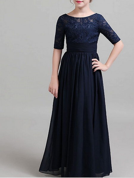 A-Line Round Neck Floor Length Chiffon Junior Bridesmaid Dress With Ruching_3