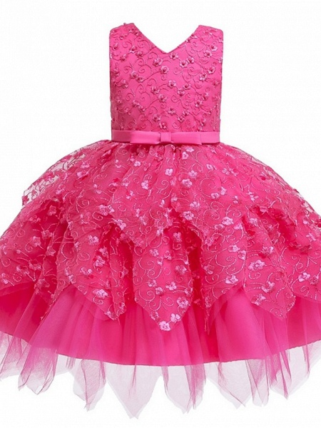 Princess / Ball Gown Mini Wedding / Party Flower Girl Dresses - Tulle Sleeveless V Neck With Sash / Ribbon / Bow(S) / Appliques_5