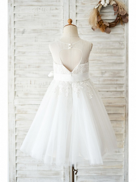 Ball Gown Knee Length Wedding / Birthday Flower Girl Dresses - Lace / Tulle Sleeveless Jewel Neck With Lace / Belt_2