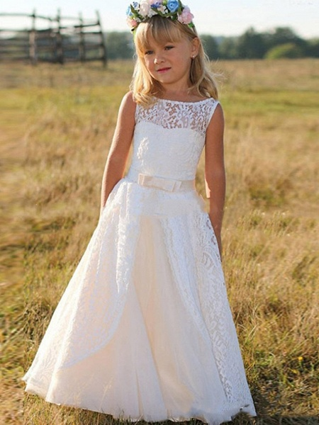 Princess / A-Line Floor Length Wedding / Party Flower Girl Dresses - Lace Sleeveless Jewel Neck With Bow(S)_1