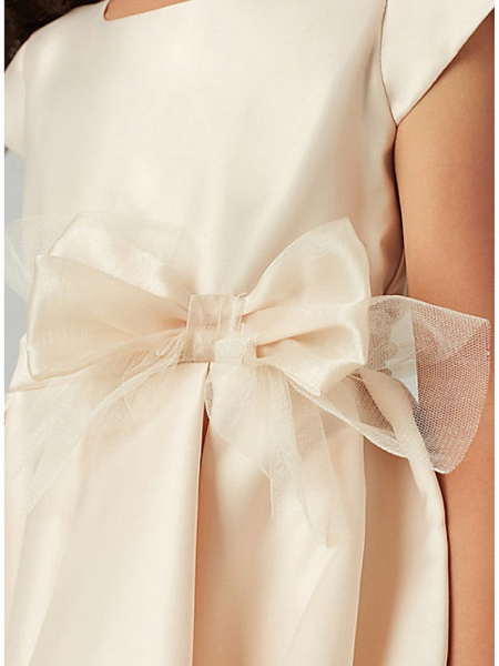 A-Line Knee Length Wedding Flower Girl Dresses - Satin / Tulle Cap Sleeve Jewel Neck With Bow(S) / Solid_3