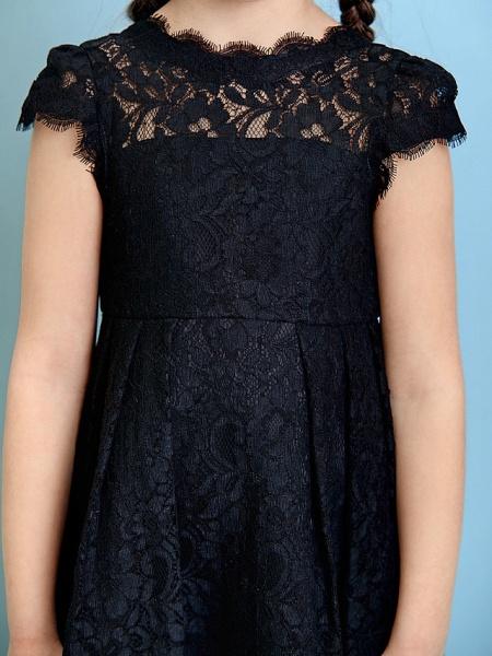 Princess / A-Line Jewel Neck Tea Length Lace Junior Bridesmaid Dress With Pleats / Natural_10