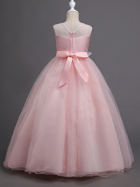 Princess Long Length Wedding / First Communion Satin / Tulle Sleeveless Jewel Neck With Belt / Appliques_5