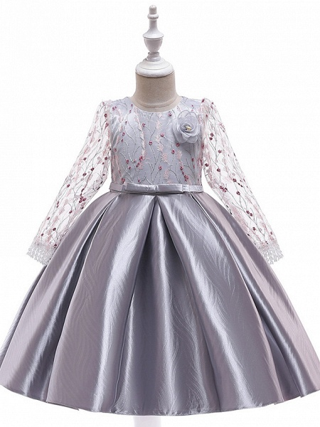 A-Line Knee Length Wedding / Birthday / Pageant Flower Girl Dresses - Cotton Blend Long Sleeve Jewel Neck With Petal / Sash / Ribbon / Embroidery_3
