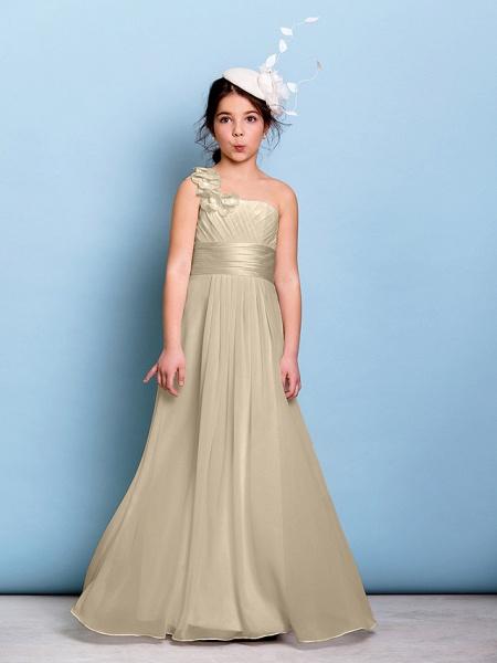 A-Line One Shoulder Floor Length Chiffon Junior Bridesmaid Dress With Sash / Ribbon / Criss Cross / Ruched / Natural_20