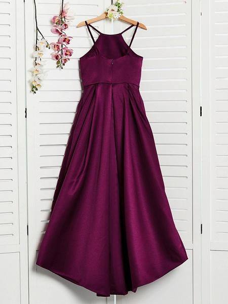 A-Line Halter Neck Sweep / Brush Train / Asymmetrical / Floor Length Satin Junior Bridesmaid Dress With Pleats_2
