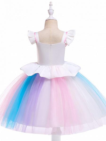 Princess Midi Party / Birthday / Pageant Flower Girl Dresses - Tulle Sleeveless Jewel Neck With Petal / Ruffles / Pattern / Print_8