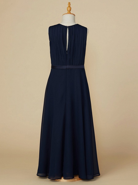 A-Line Jewel Neck Ankle Length Chiffon Junior Bridesmaid Dress With Sash / Ribbon / Ruching_2