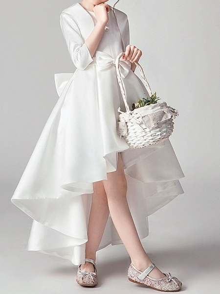 Two Piece Asymmetrical Polyester 3/4 Length Sleeve Jewel Neck With Bow(S) / Pleats_3