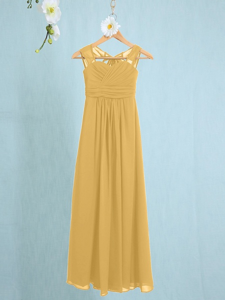 Sheath / Column Straps Ankle Length Chiffon Junior Bridesmaid Dress With Ruched / Natural_19