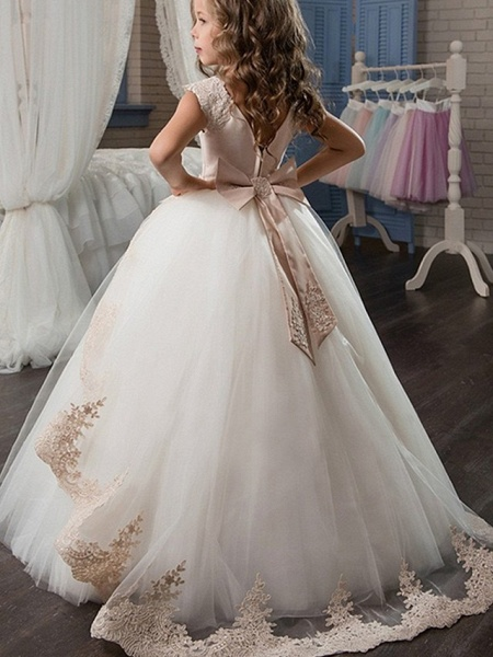 Princess / Ball Gown Sweep / Brush Train Wedding / Party Flower Girl Dresses - Satin / Tulle Sleeveless Jewel Neck With Sash / Ribbon / Bow(S) / Appliques_3