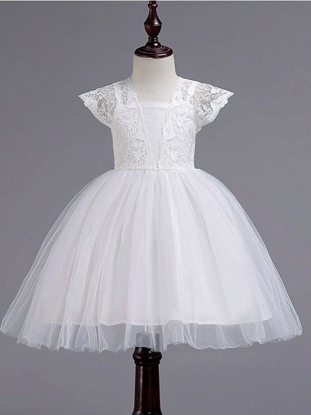 Princess Knee Length Wedding / Party / Pageant Flower Girl Dresses - Lace / Tulle / Cotton Cap Sleeve Square Neck With Lace / Belt_5