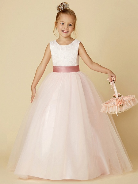 Princess Floor Length Wedding / Birthday / Pageant Flower Girl Dresses - Satin / Tulle Sleeveless Jewel Neck With Lace / Appliques_4