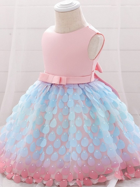 Princess / Ball Gown Knee Length Wedding / Party Flower Girl Dresses - Satin / Tulle Sleeveless Jewel Neck With Sash / Ribbon / Bow(S)_3
