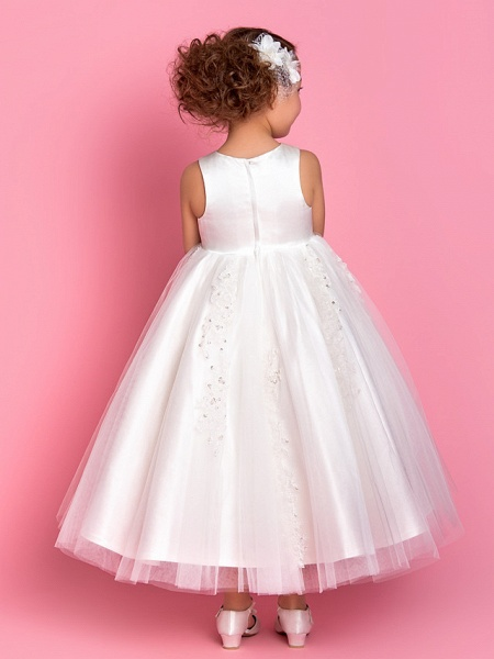 Princess / A-Line Tea Length Wedding / First Communion Flower Girl Dresses - Satin / Tulle Sleeveless Jewel Neck With Beading / Appliques / Spring / Summer / Fall / Winter_3