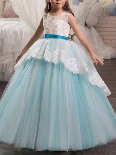 A-Line Floor Length Pageant Flower Girl Dresses - Tulle Sleeveless Jewel Neck With Lace / Bow(S)