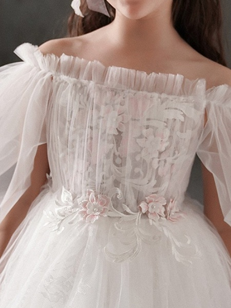 Ball Gown Ankle Length First Communion Flower Girl Dresses - Polyester Half Sleeve Off Shoulder With Appliques_4