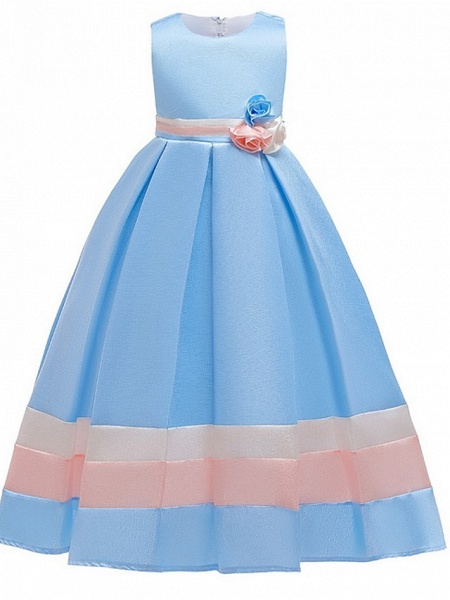 A-Line Round Floor Length Cotton Junior Bridesmaid Dress With Bow(S) / Ruching_3
