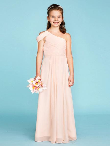 Princess / A-Line One Shoulder Floor Length Chiffon Junior Bridesmaid Dress With Sash / Ribbon / Side Draping / Wedding Party / Open Back_1