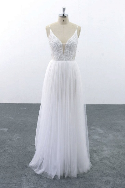 SD1955 Spaghetti Strap Pearls Boho Wedding Dress