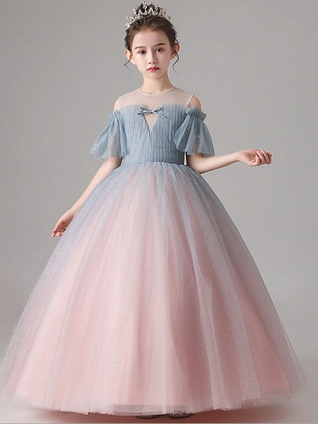 Ball Gown Floor Length Party / Birthday Flower Girl Dresses - Tulle Short Sleeve Jewel Neck With Pleats_1