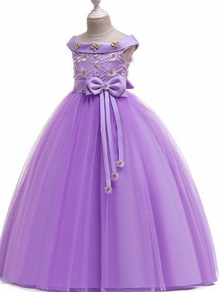 Princess Bateau Floor Length Cotton Junior Bridesmaid Dress With Bow(S) / Pearls / Appliques_5