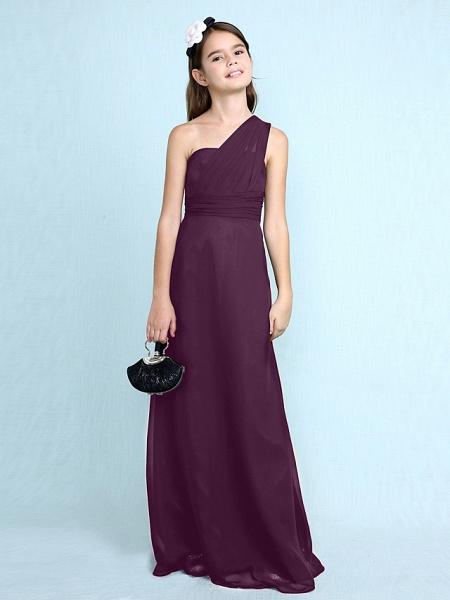 Sheath / Column One Shoulder Floor Length Chiffon Junior Bridesmaid Dress With Side Draping / Natural_20