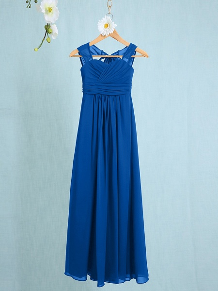 Sheath / Column Straps Ankle Length Chiffon Junior Bridesmaid Dress With Ruched / Natural_31