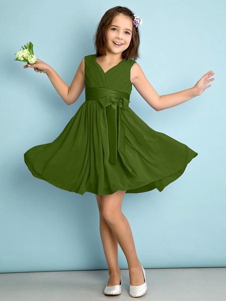 A-Line V Neck Knee Length Chiffon Junior Bridesmaid Dress With Bow(S) / Criss Cross / Natural_39