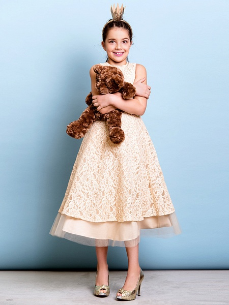 A-Line Jewel Neck Tea Length All Over Floral Lace Junior Bridesmaid Dress With Sash / Ribbon / Bow(S) / Flower / Natural_4
