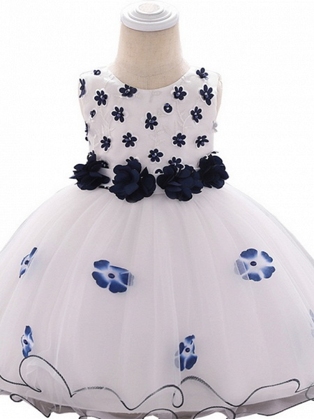 Ball Gown Floor Length Wedding / Party Flower Girl Dresses - Lace / Tulle Sleeveless Jewel Neck With Bow(S) / Tier / Appliques_3