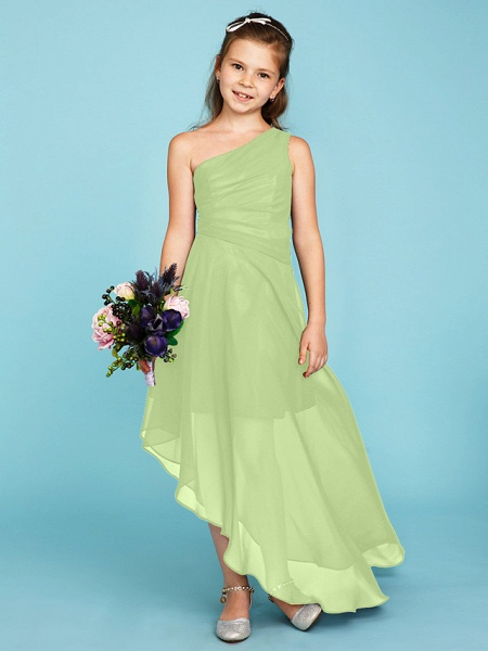 A-Line One Shoulder Asymmetrical Chiffon Junior Bridesmaid Dress With Side Draping / Wedding Party_39
