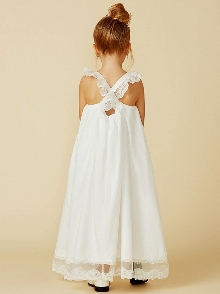 A-Line Ankle Length Wedding / First Communion Flower Girl Dresses - Lace / Cotton Sleeveless Straps With Pleats_2