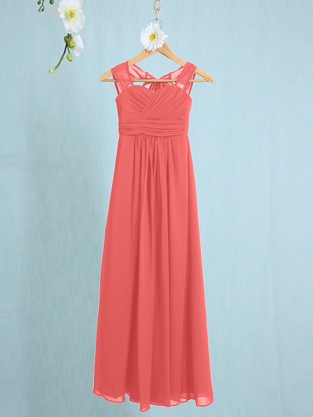 Sheath / Column Straps Ankle Length Chiffon Junior Bridesmaid Dress With Ruched / Natural_10