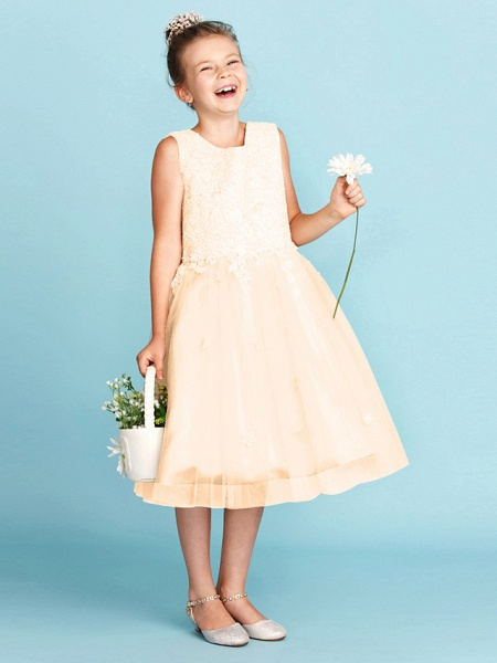 Princess / A-Line Jewel Neck Knee Length Lace / Tulle Junior Bridesmaid Dress With Bow(S) / Appliques / Wedding Party_18