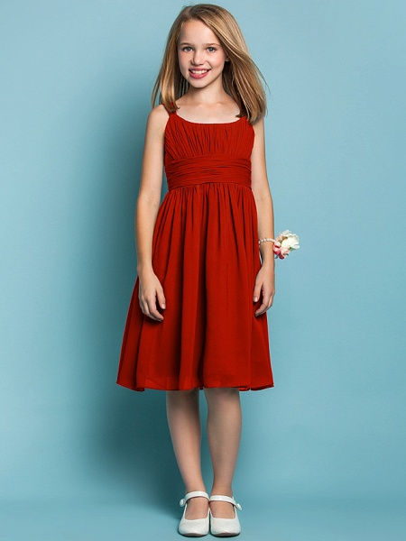 Sheath / Column Straps Knee Length Chiffon Junior Bridesmaid Dress With Ruched / Draping / Spring / Summer / Fall / Apple / Hourglass_13