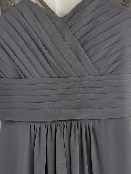 A-Line V Neck Maxi Chiffon Junior Bridesmaid Dress With Ruching_5
