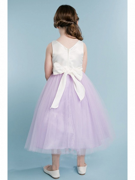 Princess / A-Line Knee Length Wedding / Party Flower Girl Dresses - Satin / Tulle Sleeveless Jewel Neck With Tier / Solid_2