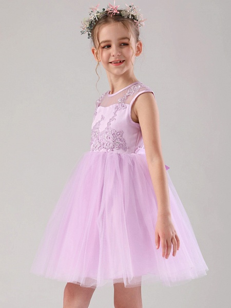 Princess / Ball Gown Medium Length Wedding / Birthday Flower Girl Dresses - Satin / Tulle Sleeveless Jewel Neck With Beading / Appliques / Solid_2