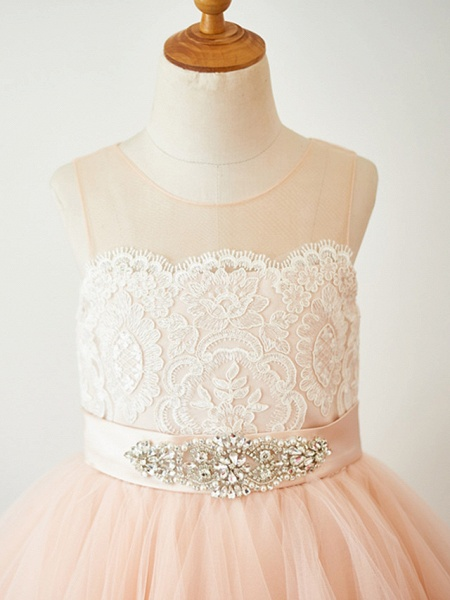 A-Line Knee Length Pageant Flower Girl Dresses - Lace / Tulle Sleeveless Jewel Neck With Lace / Sash / Ribbon_3